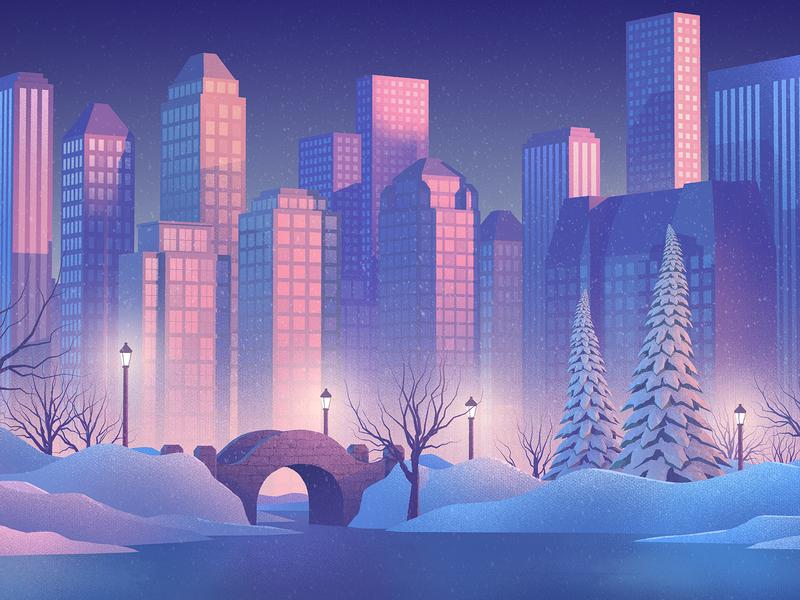 central park lighting after affects 3d art design nature cinema 4d illustration