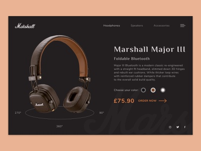 Marshall headphone | concept ecommerce shop brawn ecommerce landing clean web marshall wireless music headphones ux design ux ui minimalist typography art typography homepage design graphic design font awesome