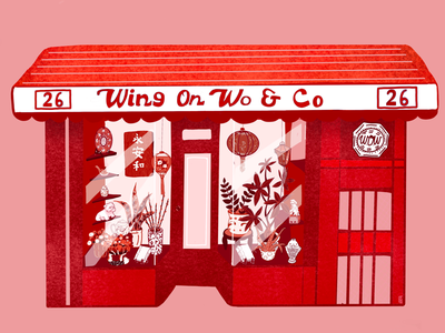 Wing on Wo storefront illustration