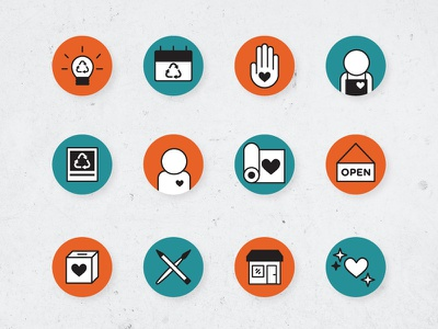 ACR Icons sustainability reuse recyle arts and crafts socialmedia icons graphic vector illustration