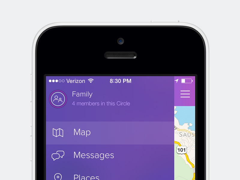 Life360 Menu ui ux design menu side menu drawer map messages ios iphone clean minimal
