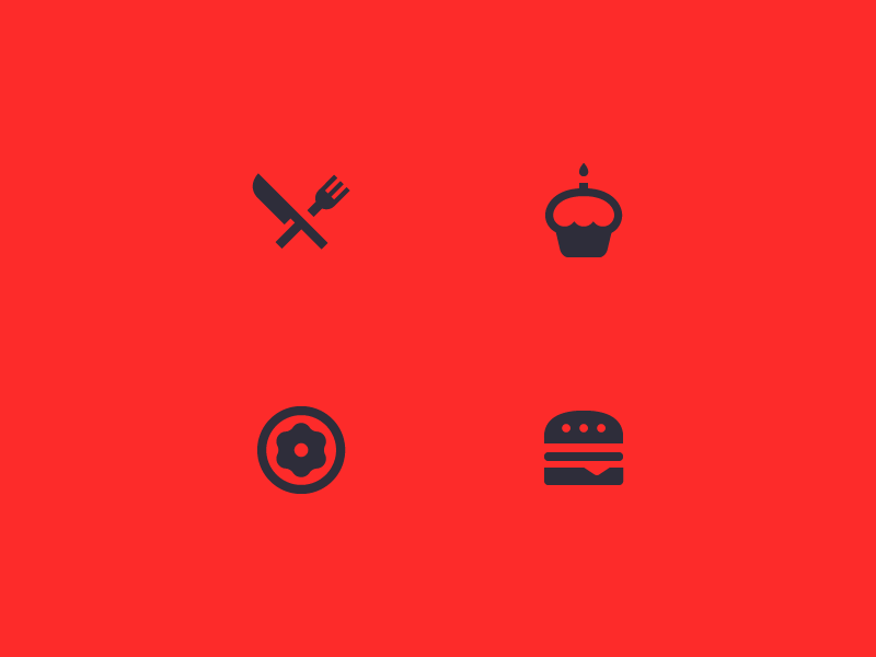 Cookin' up some icons icon geometry material design flat silhouette brand set modern restaurant cupcake doughnut burger