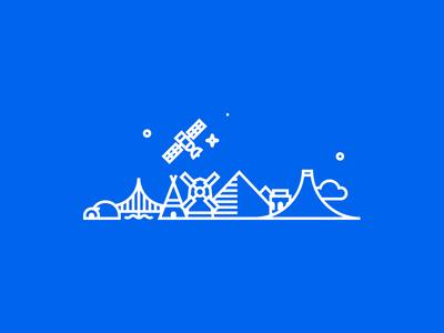 Around the world igloo city icon vector flat linear illustration