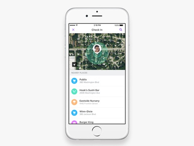 Check In alert ui list icons location map checkin