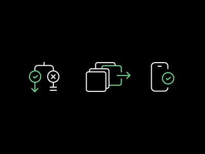 Icons for UX flows confirmation selection decision tree icon illustrator illustration line art flow ux icons