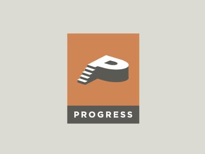 Progress... logo identity stairs accending progress upward illustion wit witty