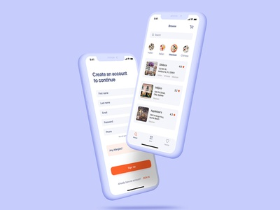 Restaurant app design app for food sign up screen login screen food app ios app design app design app for restaurant restaurant app