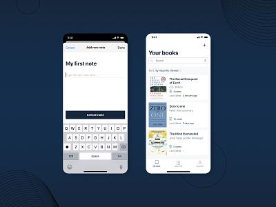 IOS app design books app bookshelf notes app task list ios app note app design notes note app books book app