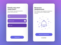 Onboarding screens for Meditation app