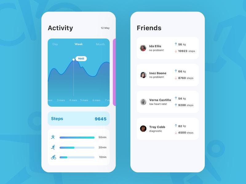 Health App дизайн ux design ios sketch ui steps activity health app healthy health