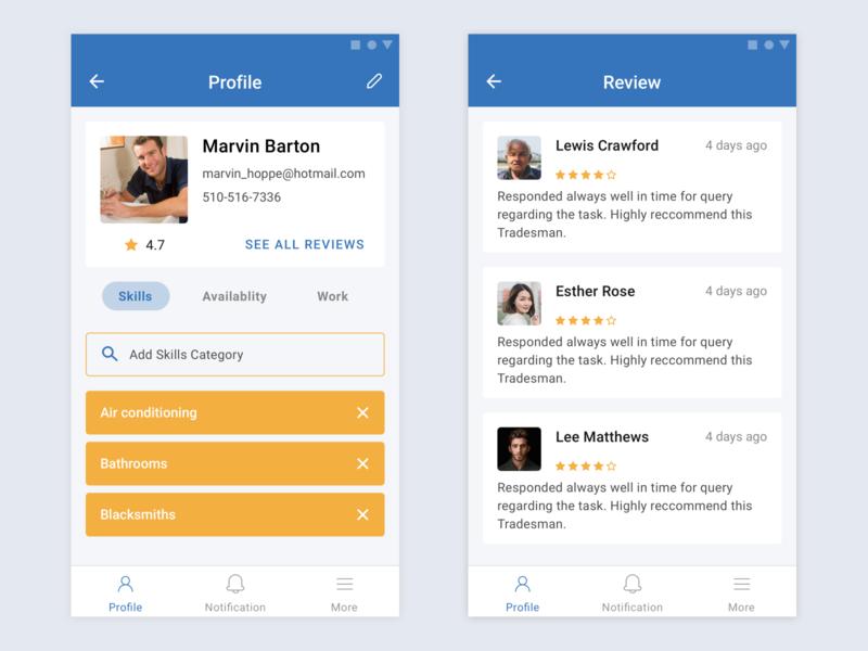 Tradesman app native app tradesman design sketch ux design app interface android app design android app android ui