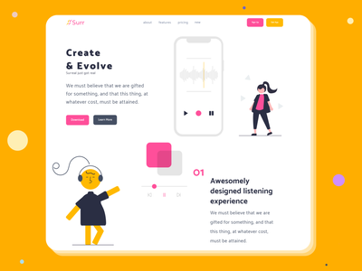 Create And Evolve color creative creativity hero image hero section surr ui procreate drawing flat ui design design adobexd flatdesign landing page design webdesign illustration uiux ux clean madebyjibrily