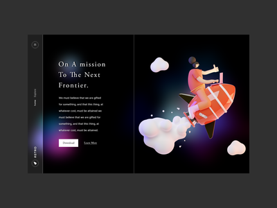 The Next Frontier Landing Page 03 - Dark Mode blurry spaceship space gradient ux uidesign clean adobe colors ui design illustration webdesign web render 3d illustration blender landing page design madebyjibrily astro