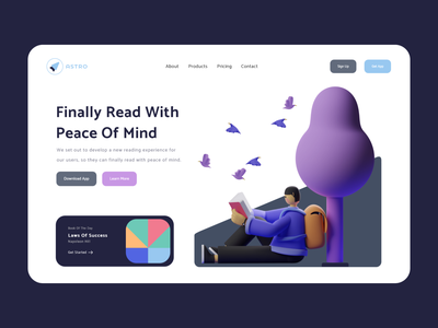 Read With Peace Of Mind 01 - Light Mode hands ux uidesign clean adobe colors ui design illustrations website webdesign web render 3d illustration 3d art 3d blender landing page design madebyjibrily astro