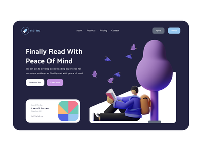Read With Peace Of Mind 01 - Dark Mode illustration reading list reading reading app colors hands adobe 3d art render blender 3d uidesign 3d illustration ux design ui clean landing page design webdesign madebyjibrily