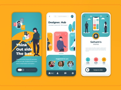 Designer Hubs UI/UX app design vector illustration web waqasakbar ux icon logo branding