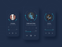 Music player dark theme app design typography ux ui