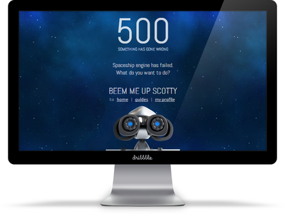 500 error page web design ui 500 error gamification responsive robot planet space stars beem me up scotty