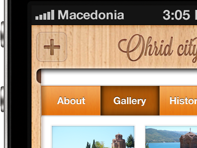 iPhone application retina ios iphone mobile navigation menu wood textures pictures gallery engraving