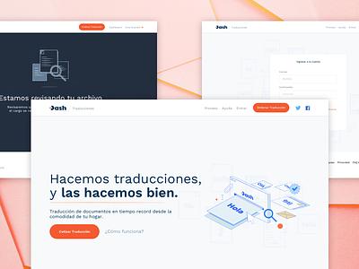Dash — Translations 🌐 world languages translate blue orange case study translation landing