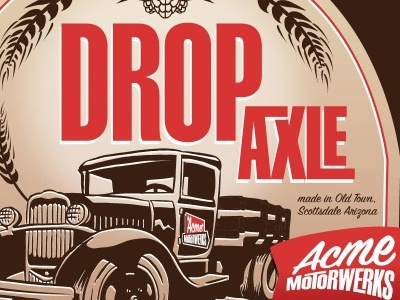 Drop Axle by Acme Motorwerks beer label vector illustration branding