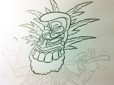 Photo tiki illustration ink sketch