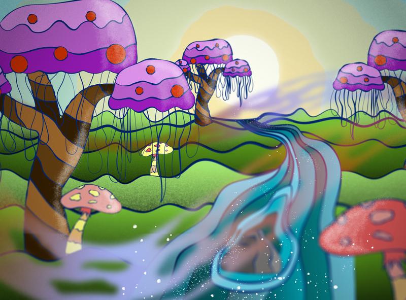 Awesome Nature illustrator photoshop waves colorful color palette vector art illustration nature