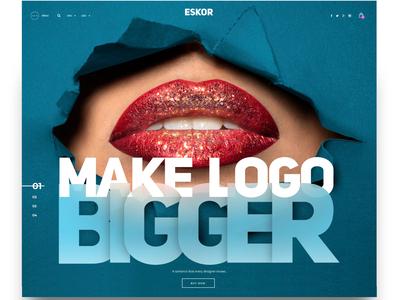 Make Logo Bigger landingpage uiux ui screendesign webdesign font design humor typography
