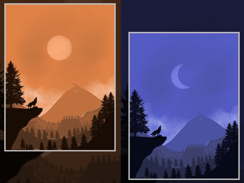 Forest flat painting brushes vector design painting illustration