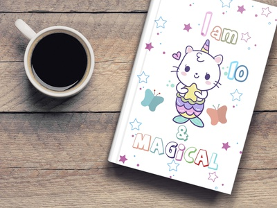 Magical coloring book for kids design notebook design book cover