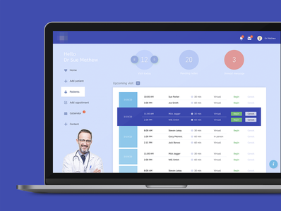 UI dashboard simple ux medicine interface app layout design ui