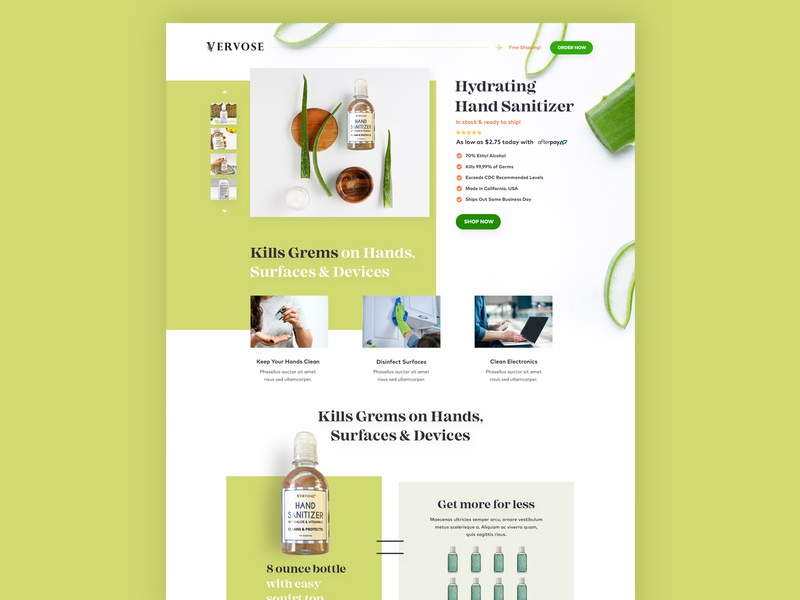 Landing page for Vervose digital coronavirus agency creative ux web design layout landing page