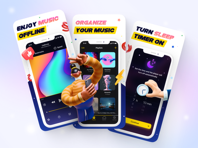 Music Player App 🤟 retro design equalizer sleep timer sleep app playlists player ui music app design music app ui music app music player app visual design screenshots app store mobile app ui design mobile app ui mobile app design app ui design app design