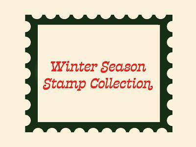 Winter Season Stamp Collection 💌 vector vintage stamp stamp design retro illustration winter illustrator