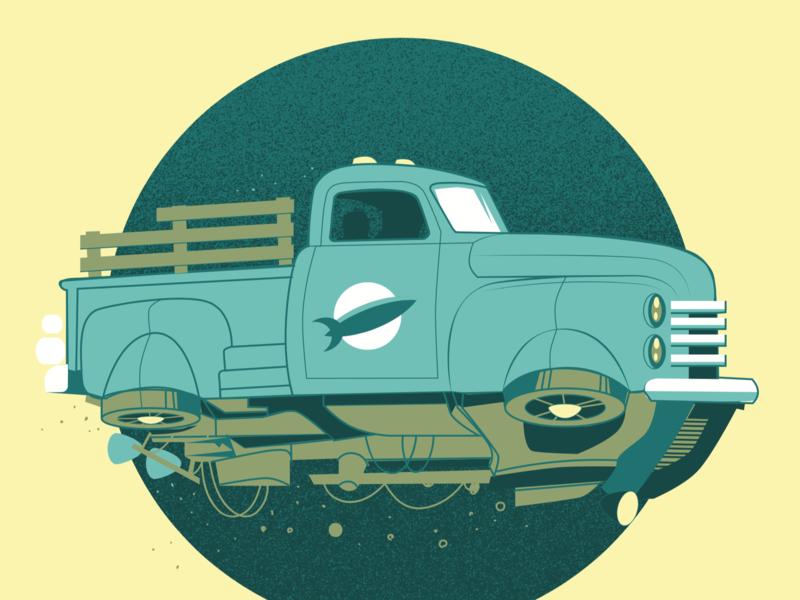 Space Opera Project - Retro Future Earth illustration vehicle truck
