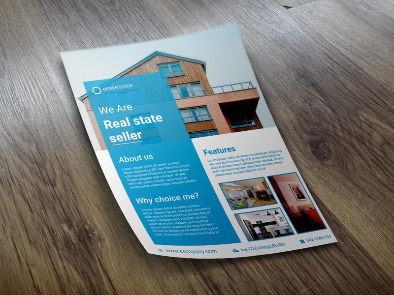 Real state flyer design creative logos eye catching flat vector design business flyer illustration flyer branding