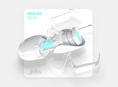Fan CGI of portal gun gray 3ds max 3d visualization industrial design white place fun cgi portal gun
