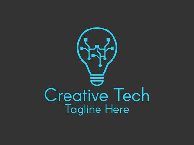 Technological Bulb Logo technology logo illustrator vector branding icon minimal bulb logo technology logo flat
