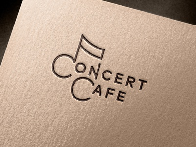 Concert Cafe flat design line art logo typography custom logotype logo design logo