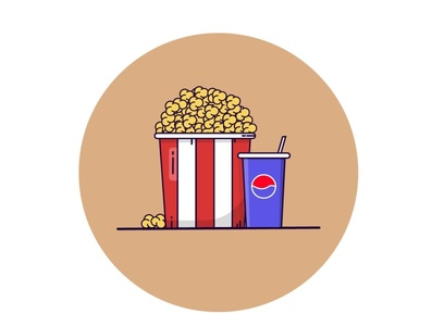 Popcorn and pepsi graphic design graphics flat design flatdesign inspired graphicdesign logo illustration graphic design vector