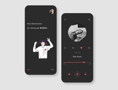 Dark Mode Music App adobe xd adobexd graphic ui design uidesign uiux minimalisticui minimalist design minimalist ux design illustration ui