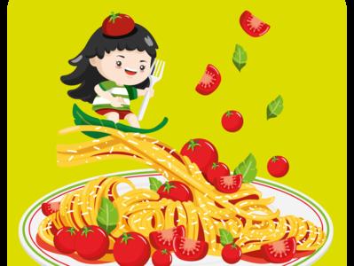 Tomatoes summer food food illustration spaghetti characterdesign character vector creative  design design flat digital illustration art illustration digitalart artwork illustrator summer