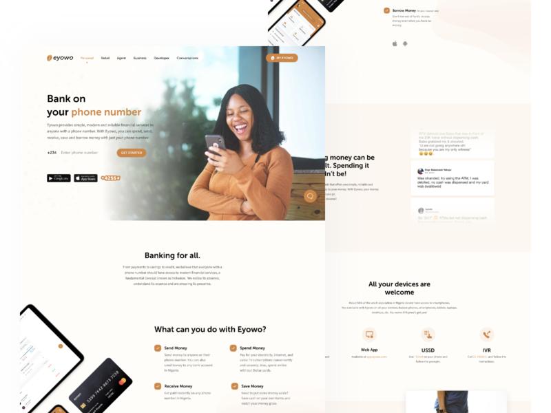 Eyowo Website money illustraion illustration brown app white uxdesign finance ui design