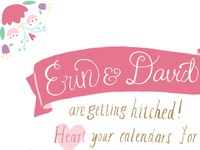 Flower & ribbon save the date