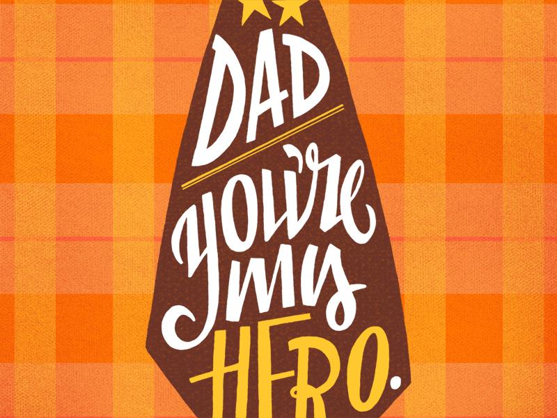 Father's Day Hero Tie fathers day tie typography illustration orange