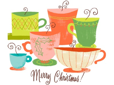 Christmas Cup of Cheer hot chocolate argyle retro holly typography lettering christmas illustration