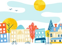 Raleigh trees state capital downtown houses print buildings city north carolina raleigh illustration
