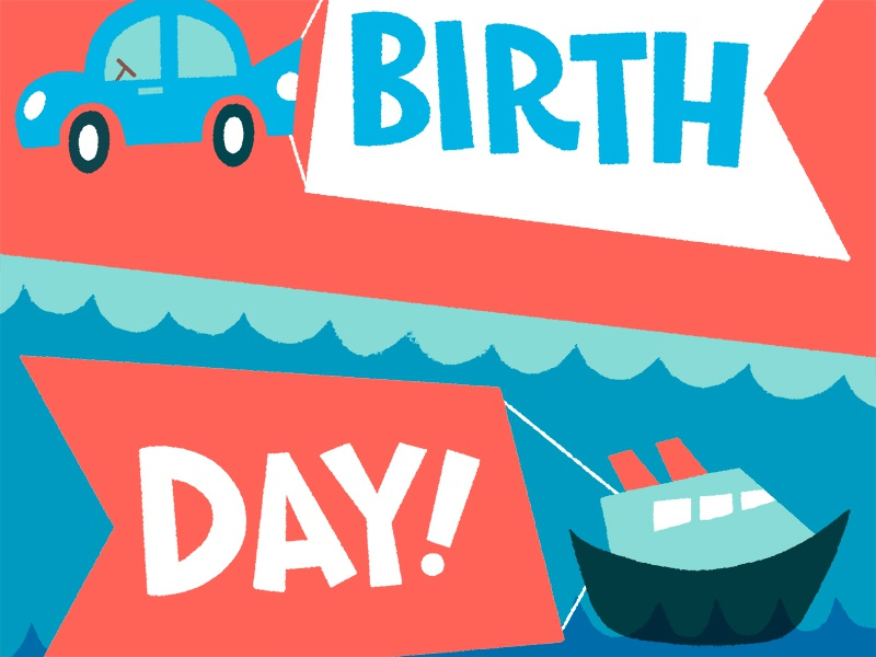 Happy birthday vehicles flags water card birthday car boat illustration