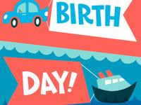 Happy birthday vehicles flags water card birthday car boat illustration