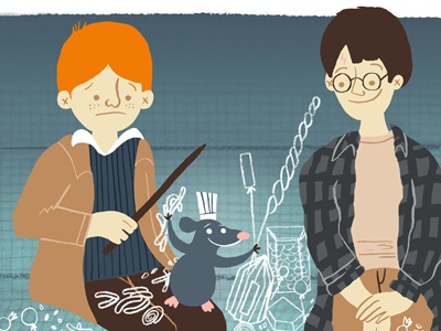 Harry, Ron, and Remy harry potter ratatouille pixar hogwarts express candy ron weasley illustration disney
